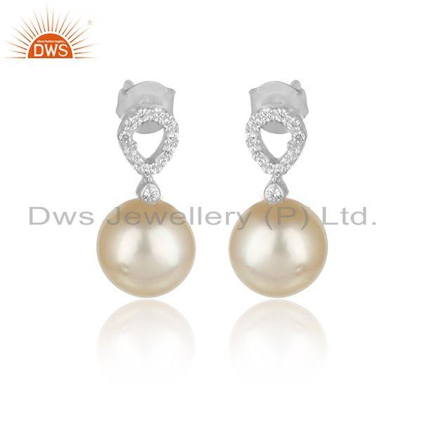 Cz natural pearl gemstone white rhodium plated designer earrings