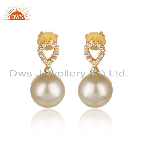 Cz pearl gemstone handmade gold plated 925 silver drop earrings
