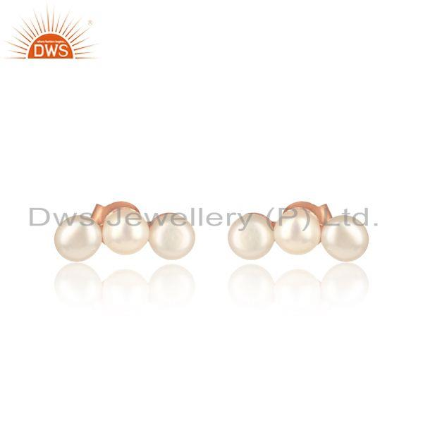 Natural pearl designer rose gold plated womens silver earrings