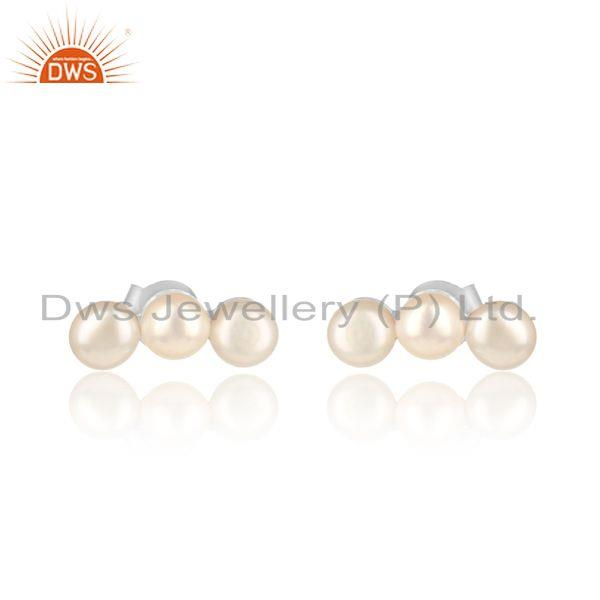 Natural pearl designer sterling silver 925 womens silver earrings
