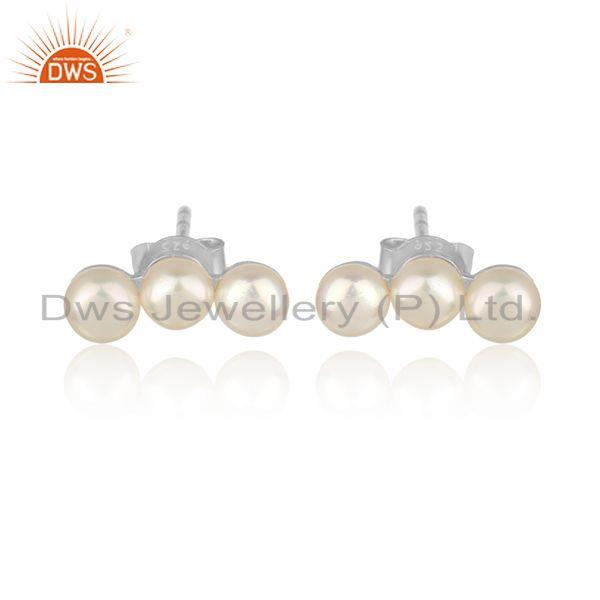 Pearl gemstone designer white rhodium plated silver stud earring