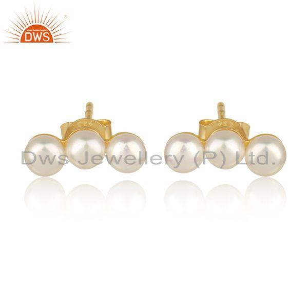 Natural pearl gemstone designer gold plated womens silver earrings