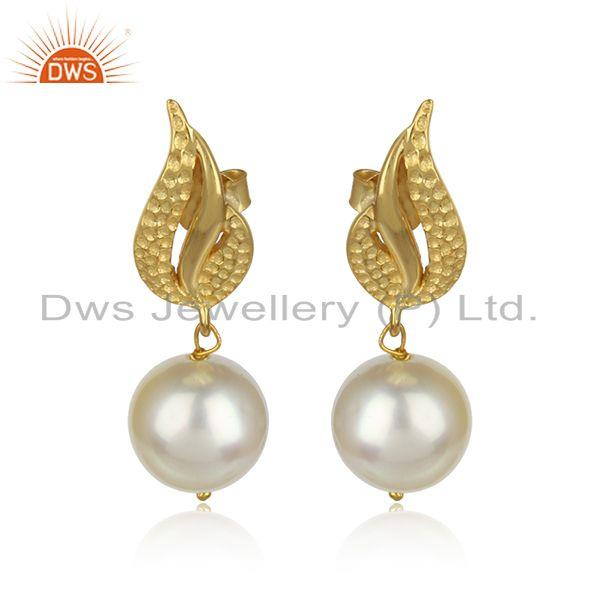 Natural pearl drop gemstone designer gold plated 925 silver earrings