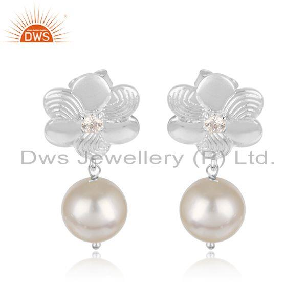 White Rhodium Plated Flower Design CZ Pearl Gemstone Earrings