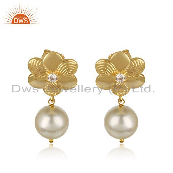 Leaf Design 18k Gold Plated Silver CZ Natural Pearl Gemstone Earrings