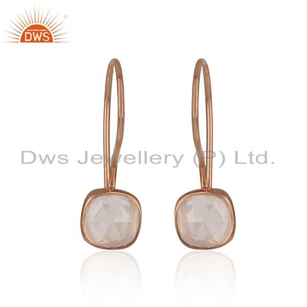 Handmade smooth earring in rose gold on silver with rose quartz