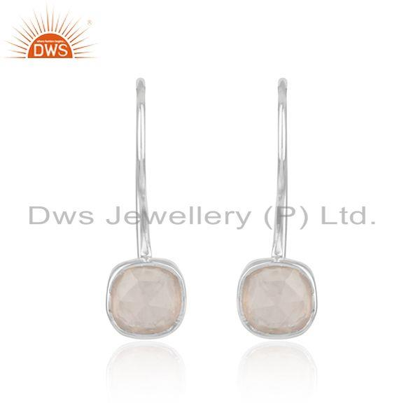 Handmade smooth earring in sterling silver 925 with rose quartz