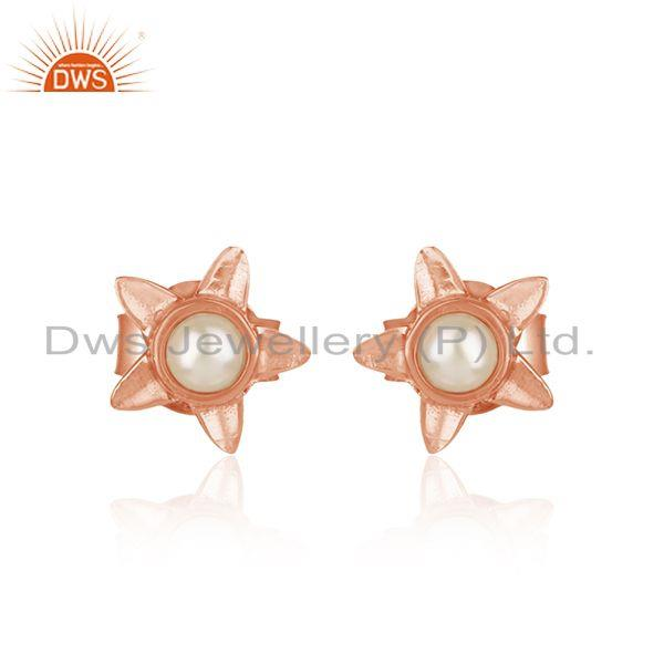 Designer Leaves Earring in Rose Gold on Silver 925 with Pearl