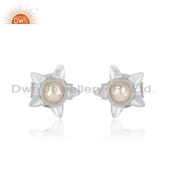 Designer leaves earring in solid silver 925 with exquisite pearl