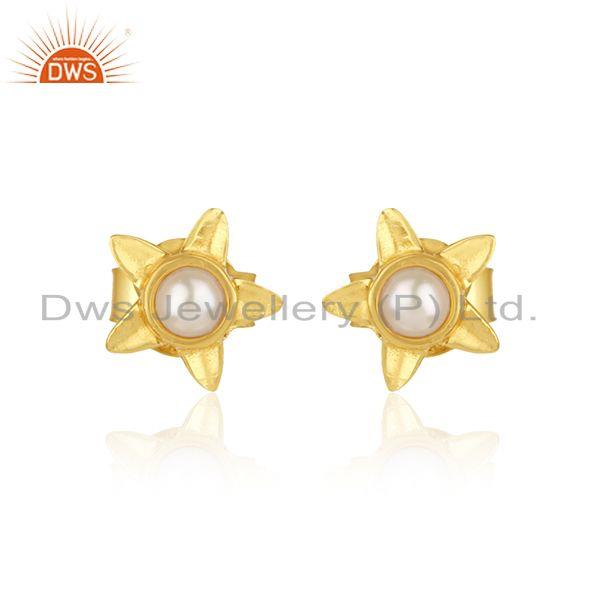Designer leaves earring in yellow gold on silver 925 with pearl