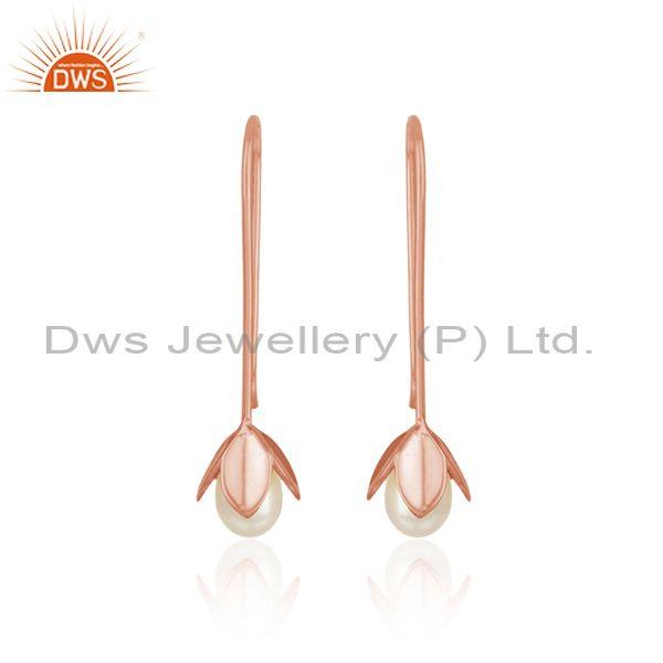 Leaf drop earring in rose gold on silver 925 crafted with pearl