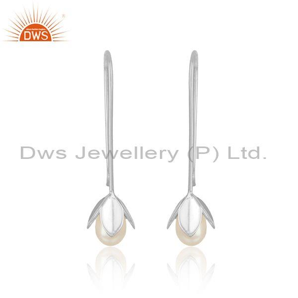 Leaf drop earring in solid silver 925 enchanted with pearl