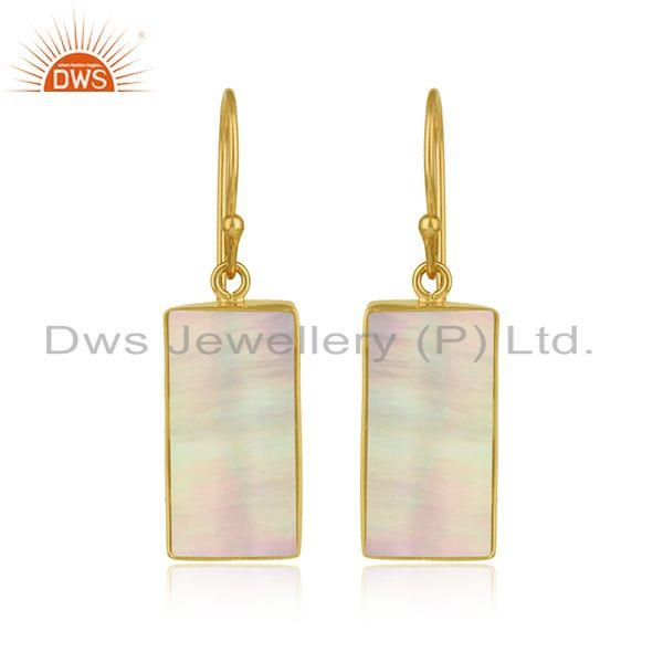 Handmade mother of pearl bar earring in yellow gold on silver 925