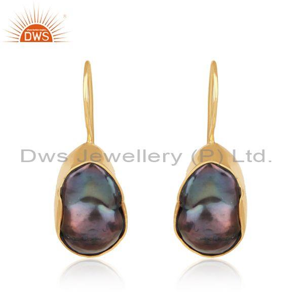 Hancrafted Organic Shape Gold on Silver Earring with Gray Pearl
