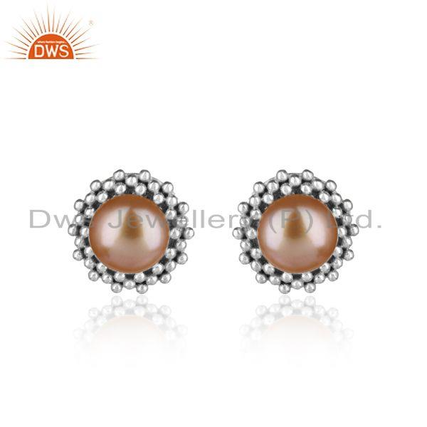 Textured stud in rhodium plated silver 925 with pink pearl