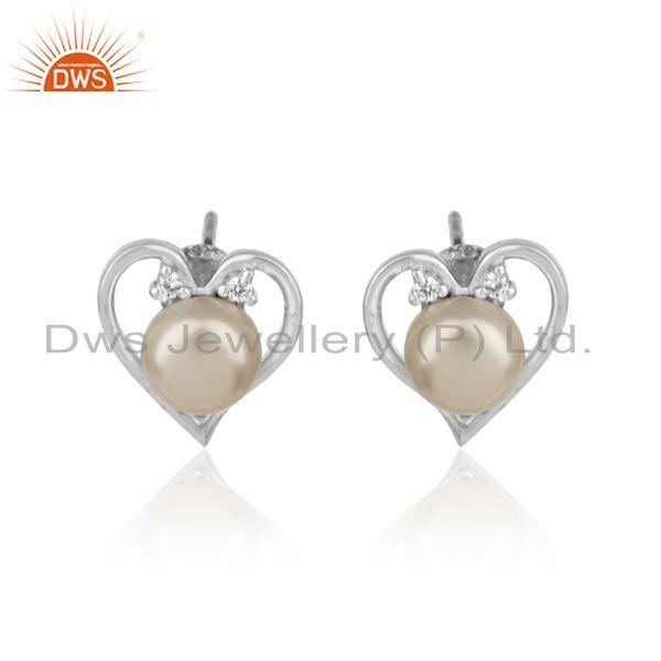 Heart Shape Stud In Rhodium Plated Silver with Zircon and Pearl