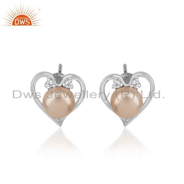 Heart Shape Stud In Rhodium Plated Silver with Cz and Pink Pearl