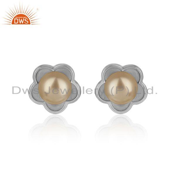 Designer Dainty Stud In Rhodium Plated Silver Adorn with Pearl