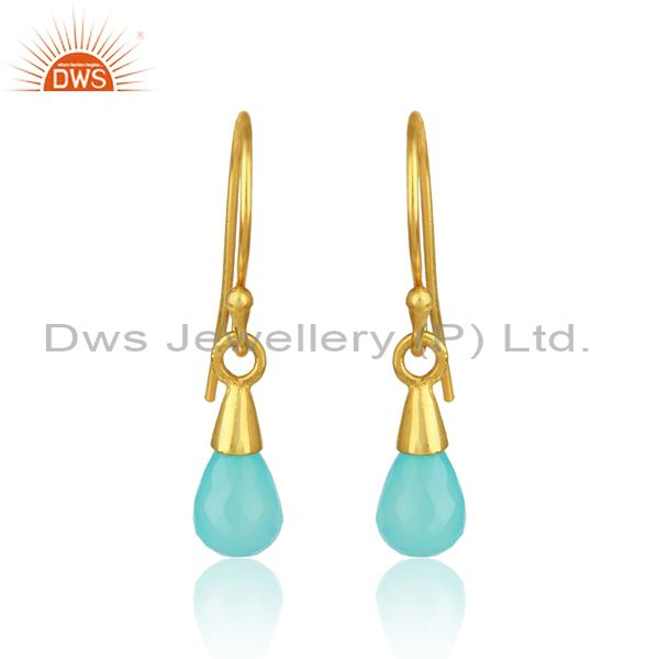 Designer drop dangle in yellow gold on silver with aqua chalcedony