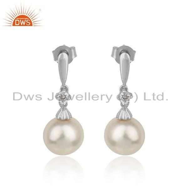 White rhodium plated silver cz natural pearl gemstone earrings
