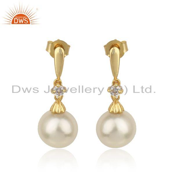 Designer gold plated 925 silver cz natural pearl gemstone earring