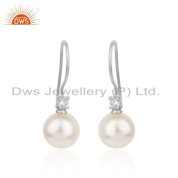 White rhodium plated silver cz pearl gemstone hook earrings