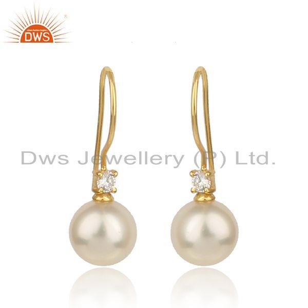 White zircon pearl gemstone womens gold plated silver earrings
