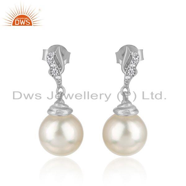 Drop Design White Rhodium Plated Silver Pearl Gemstone Earrings