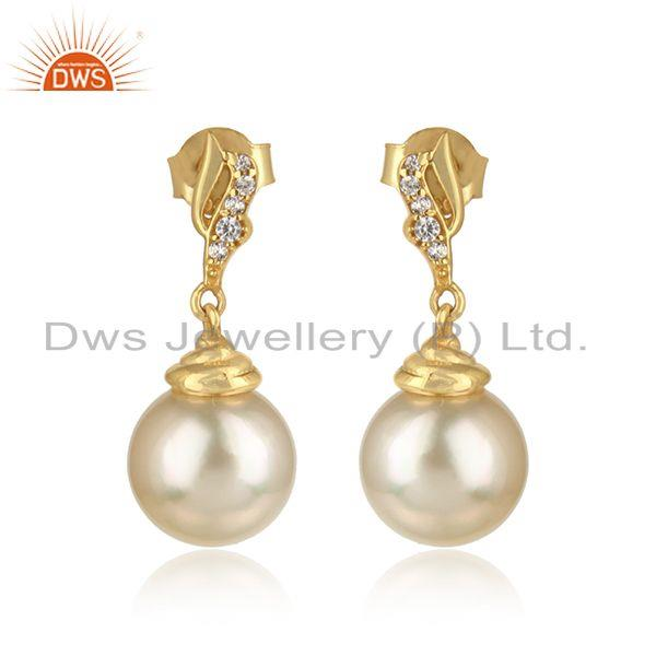 CZ Pearl Gemstone 18k Gold Plated Designer Silver Girls Earrings