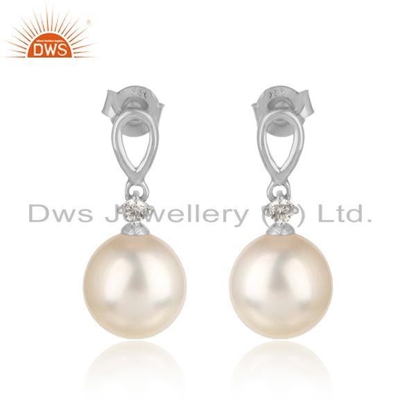 White rhodium plated silver girls cz pearl gemstone earrings