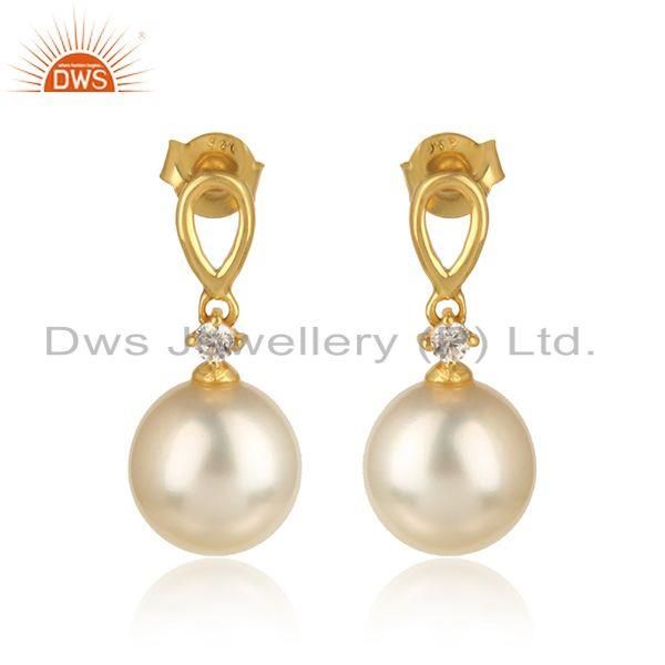 18k Gold Plated 925 Silver Natural Pearl CZ Gemstone Earrings