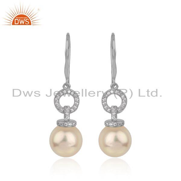 Handmade white rhodium plated silver cz pearl gemstone earrings