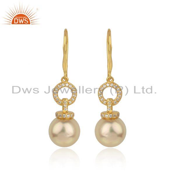 Cz natural pearl gemstone 18k gold plated silver girls earrings