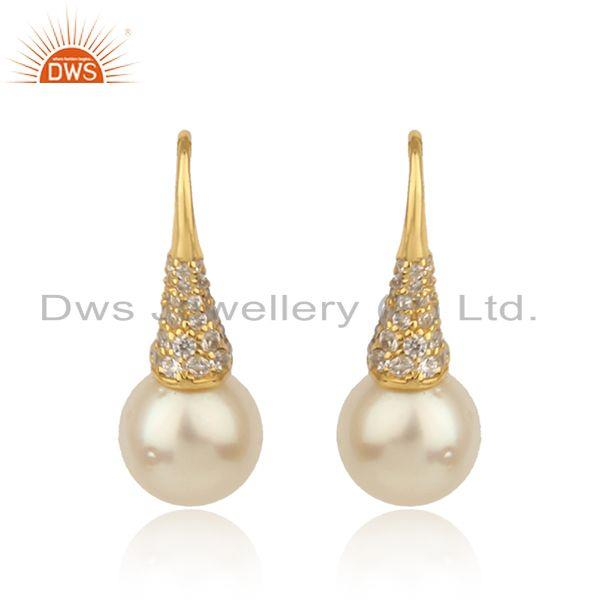 Drop pearl cz gemstone 18k gold plated silver womens earrings