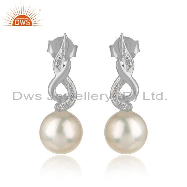 Designer White Rhodium Plated Silver CZ Pearl Gemstone Earrings