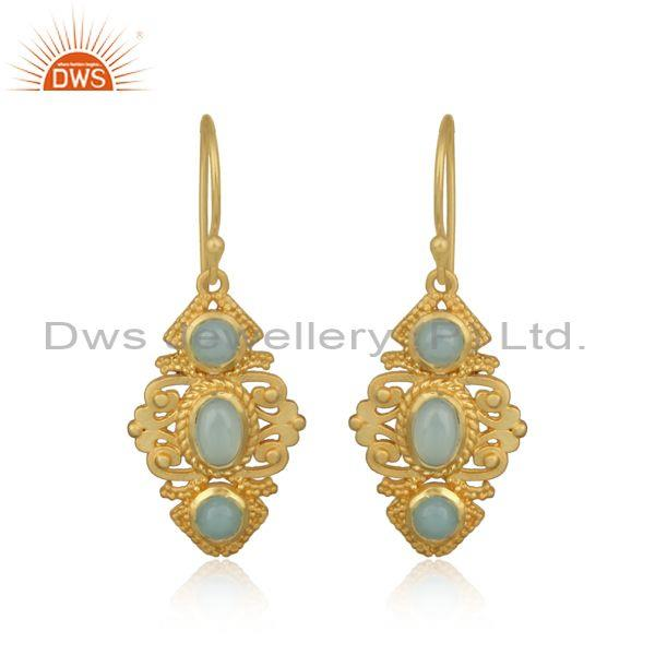 Boho Earring in Yellow Gold on Silver 925 with Aqua Chalcedony