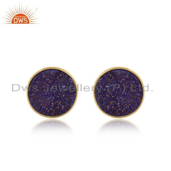 Elegant dainty studs in yelow gold on silver 925 with purple druzy