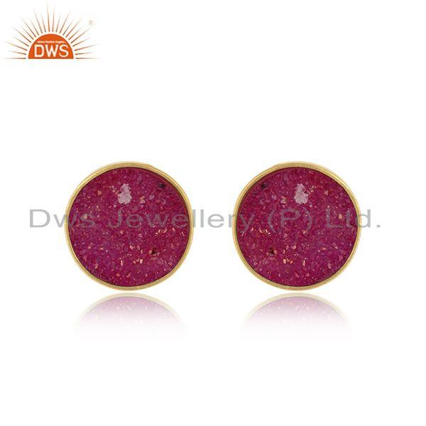 Elegant dainty studs in yelow gold on silver 925 with pink druzy