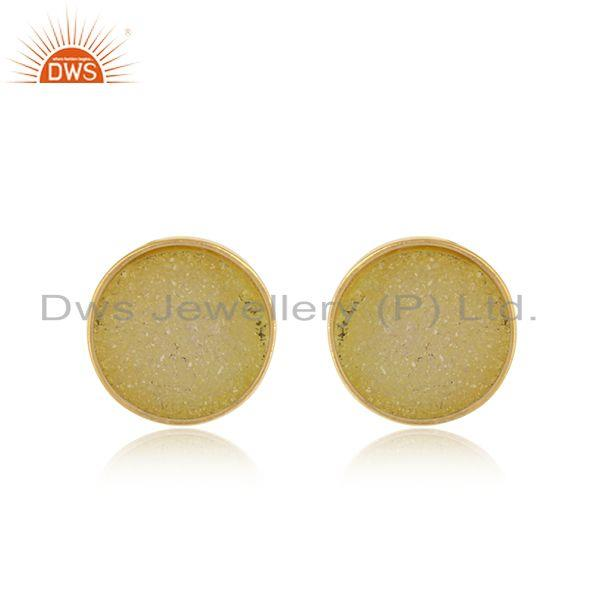 Elegant dainty studs in yelow gold on silver 925 with yellow druzy