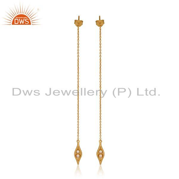 Designer Long Seedpod Pearl Earring in Yellow Gold on Silver 925