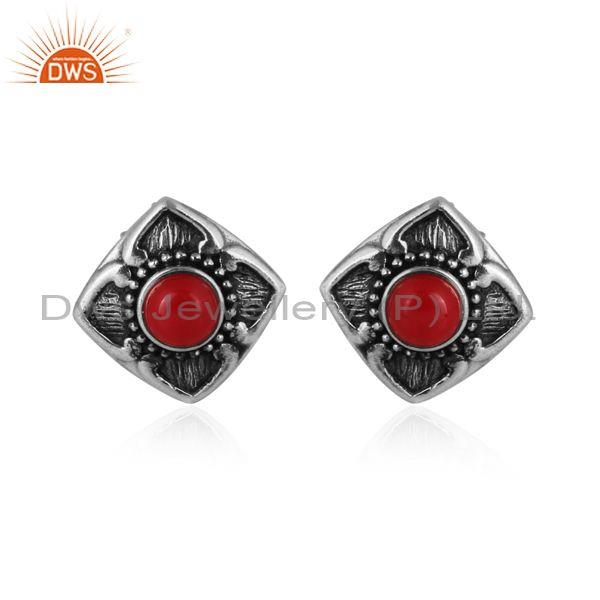 Cultured coral set oxidized sterling silver floral earrings