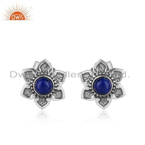 Handcrafted dainty designer lapis stud in oxidised silver 925
