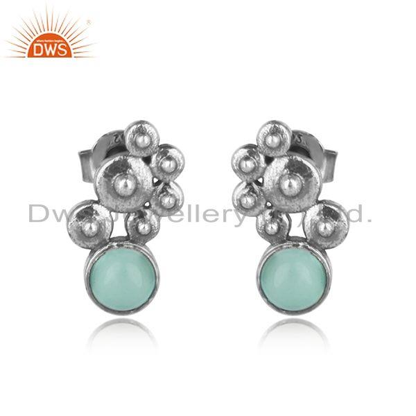 Handcrafted designer aqua chalcedony studs in oxidized silver 925