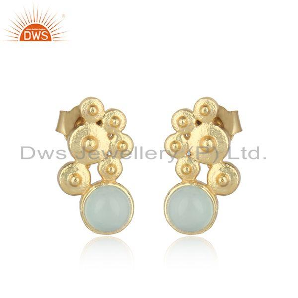 Handcrafted Designer Aqua Chalcedony Studs in Gold on Silver 925