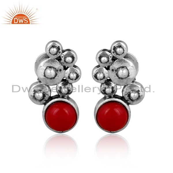Round cultured coral set oxidized 925 silver ethnic earrings