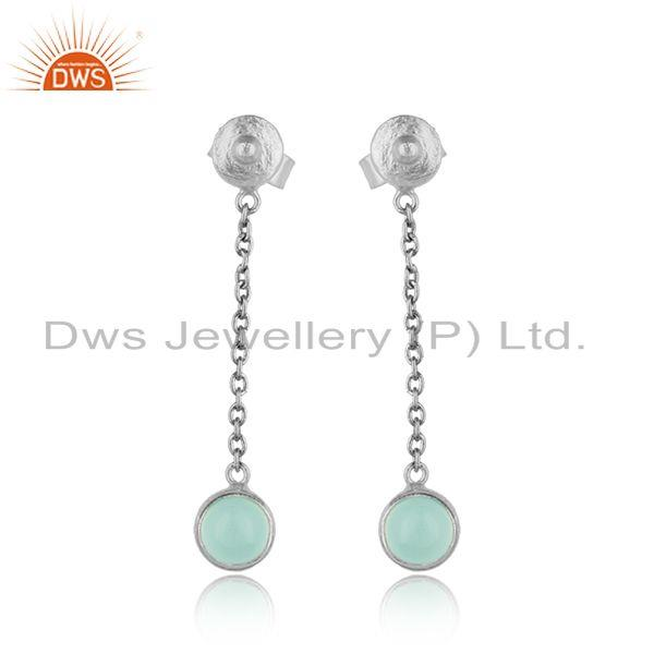 Designer Chain Dangle Aqua Chalcedony Earring in Oxidized Silver 925