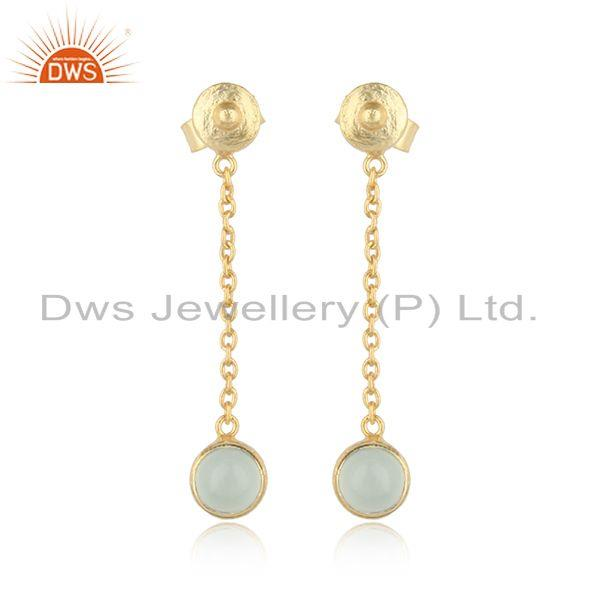 Designer Chain Dangle Aqua Chalcedony Earring in Gold on Silver 925