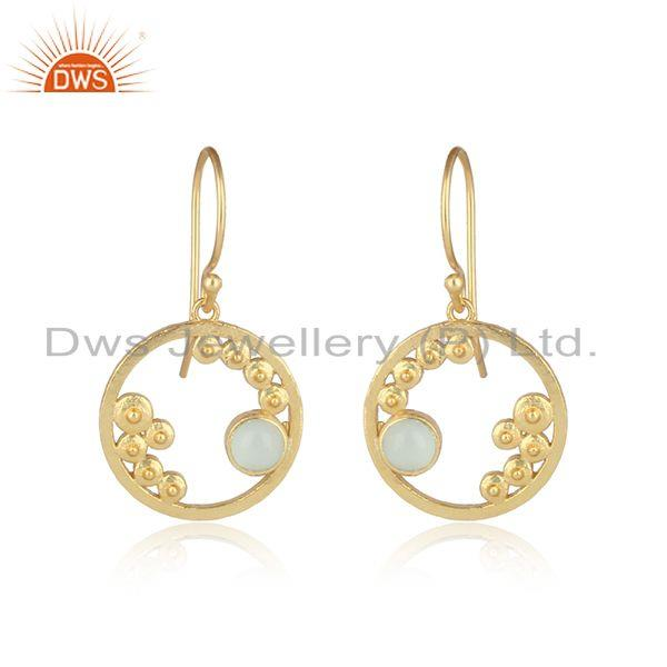 Handcrafted Granule Aqua Chalcedony Dangle in Gold on Silver 925