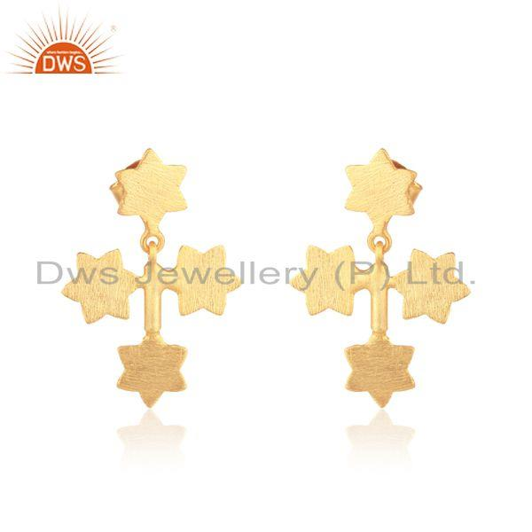 Cross design star earring in yellow gold plated silver 925