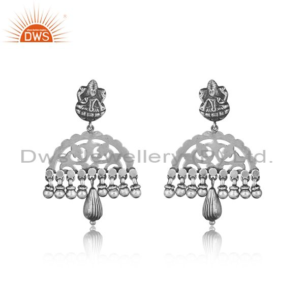 Traditional goddess designer tribe earring in oxidized silver 925